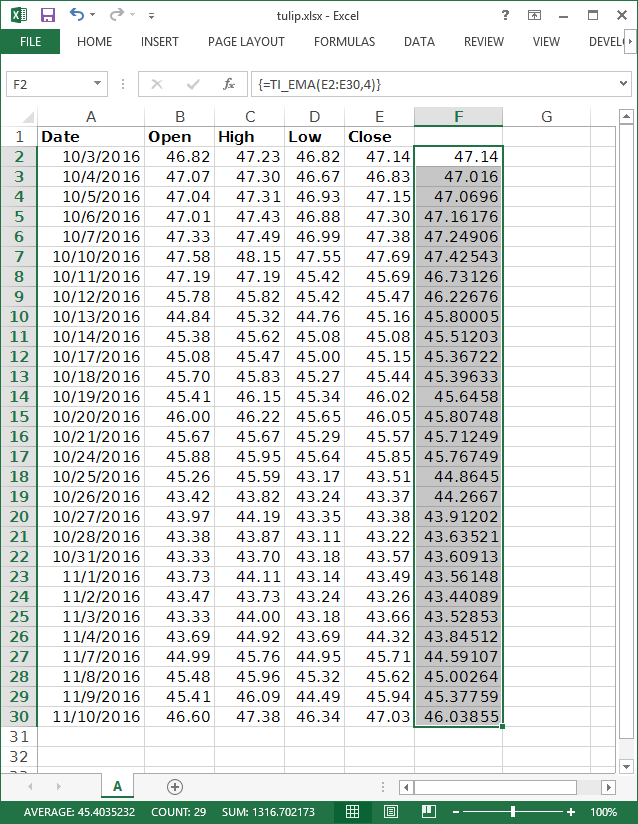 finishing the excel exponential moving average calculation