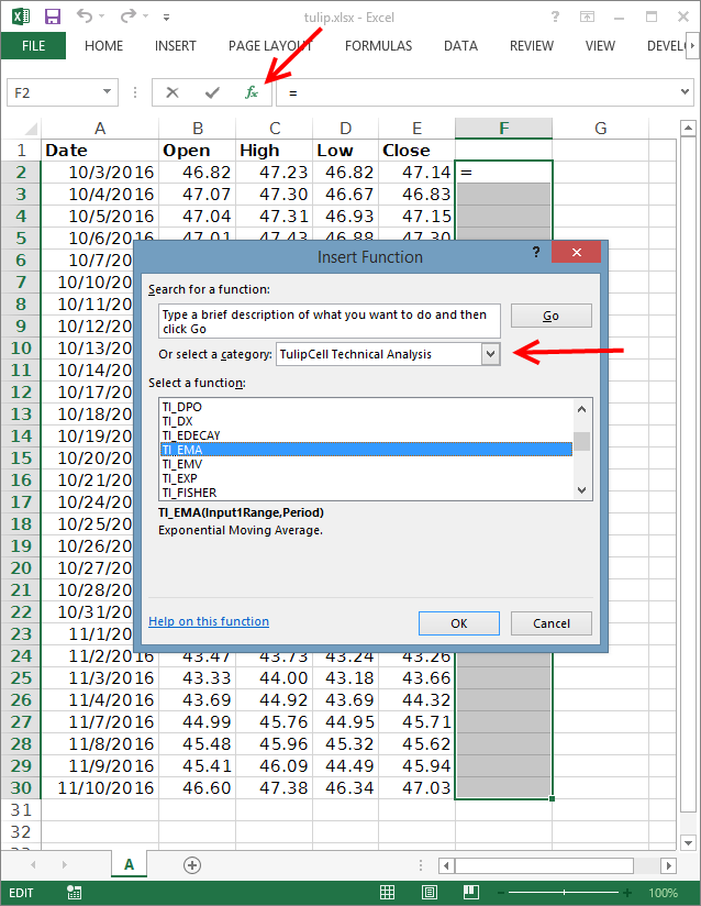 selecting Tulip Cell indicator in excel